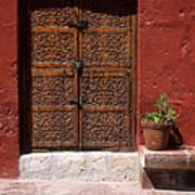 Colonial Door And Geranium Art Print