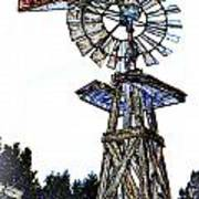 Color Drawing Antique Windmill 3005.05 Art Print