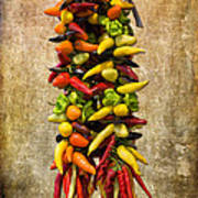 Color Peppers From Spain With Textured Background Dsc01467 Art Print