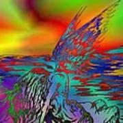 Color Tempest Angel On Rocks Art Print