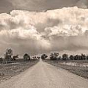 Colorado Country Road Stormin Sepia  Skies Art Print
