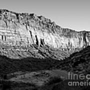 Colorado River Cliff Bw Art Print