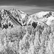 Colorado Rocky Mountain Autumn Magic Black And White Art Print