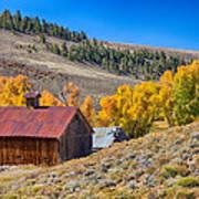 Colorado Rustic Rural Barn With Autumn Colors  Art Print