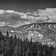 Colorado Ski Slopes In Black And White Art Print
