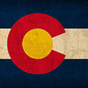 Colorado State Flag Art On Worn Canvas Art Print by Design Turnpike