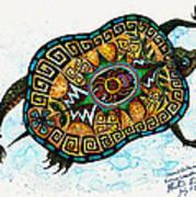 Colored Cultural Zoo C Eastern Woodlands Tortoise Art Print