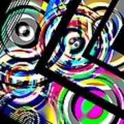 Colored Lines And Circles Art Over Black Art Print by Mario Perez