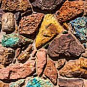 Colored Stone Rock Church Wall - Cedar City - Utah Art Print