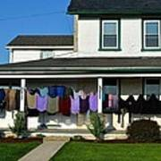 Colorful Amish Laundry On Porch Art Print