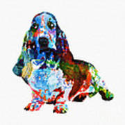 Colorful Basset Art Print