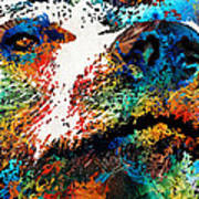 Colorful Bear Art - Bear Stare - By Sharon Cummings Art Print