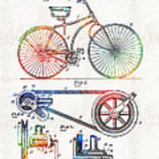 Colorful Bike Art - Vintage Patent - By Sharon Cummings Art Print