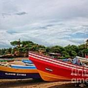 Colorful Boats And Lighthouse Art Print