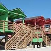 Colorful Cabanas Art Print
