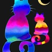 Colorful Cats And The Moon Art Print