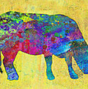 Colorful Cow Abstract Art Art Print