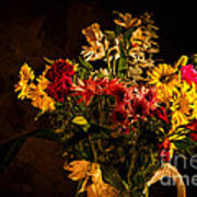 Colorful Cut Flowers In A Vase Art Print