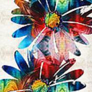 Colorful Daisy Art - Hip Daisies - By Sharon Cummings Art Print