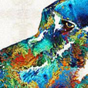 Colorful Dog Art - Loving Eyes - By Sharon Cummings  Art Print