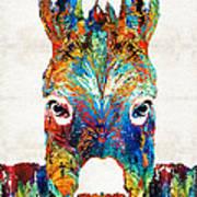 Colorful Donkey Art - Mr. Personality - By Sharon Cummings Art Print