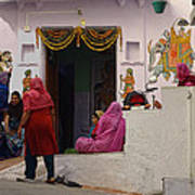 Colorful Family Gathering Ancestral Home Udaipur Rajasthan India Art Print