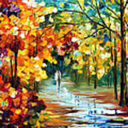 Colorful Forest - Palette Knife Oil Painting On Canvas By Leonid Afremov Art Print