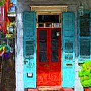 Colorful French Quarter Door  Art Print