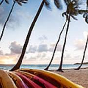 Colorful Kayaks On Beach In The Caribbean Art Print