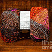 Colorful Knitting Yarn In A Wooden Box Art Print