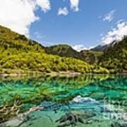 Colorful Lake At Jiuzhaigou China Art Print