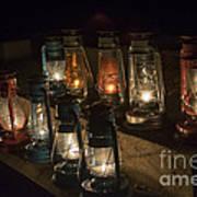 Colorful Lanterns At Night Art Print