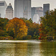 Colorful Magic In Central Park New York City Skyline Art Print by Silvio Ligutti