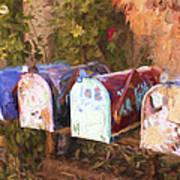 Colorful Mailboxes Santa Fe Painterly Effect Art Print