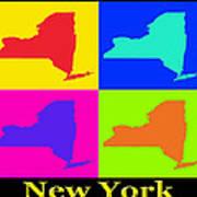 Colorful New York State Pop Art Map Art Print