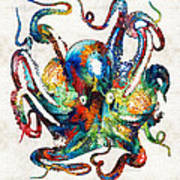 Colorful Octopus Art By Sharon Cummings Art Print