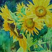 Colorful Original Sunflowers Flower Garden Art Artist K. Joann Russell Art Print