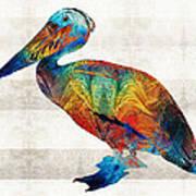 Colorful Pelican Art By Sharon Cummings Art Print