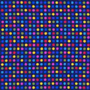 Colorful Polka Dots On Dark Blue Fabric Background Art Print