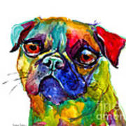 Colorful Pug Dog Painting  Art Print