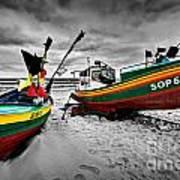 Colorful Retro Ship Boats On The Beach Art Print