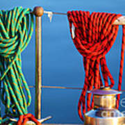 Colorful Rope Detail On Yacht Art Print