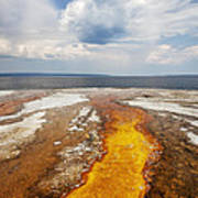 Colorful Runoff From Black Pool Leads To Yellowstone Lake Art Print