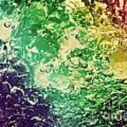 Colorful Splashing Pouring Water With Bubbles Art Print