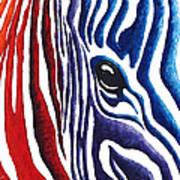 Colorful Stripes Original Zebra Painting By Madart Art Print