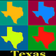 Colorful Texas Pop Art Map Art Print