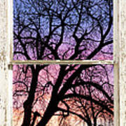 Colorful Tree White Farm House Window Portrait View Art Print