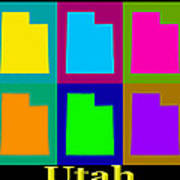 Colorful Utah State Pop Art Map Art Print