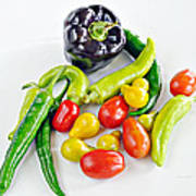 Colorful Veggies On White Art Print