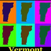 Colorful Vermont Pop Art Map Art Print